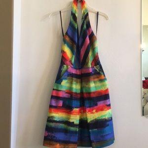 Multi colored halter dress